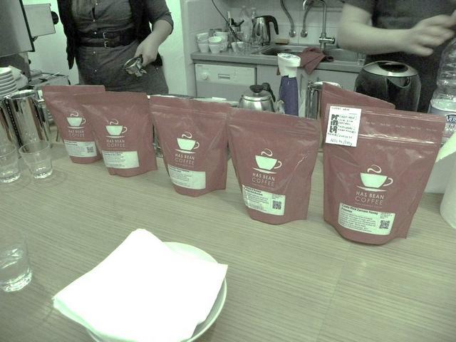 cupping a printa kávézóban has bean kávék