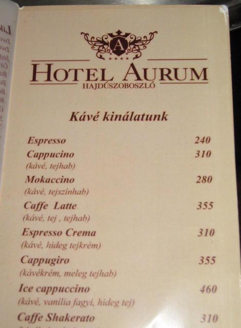 hotel aurum kávélap