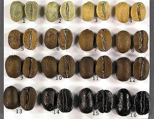 a kávébabok pörkölési színei