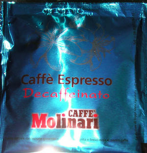molinari decaffeinato pod csomagolás